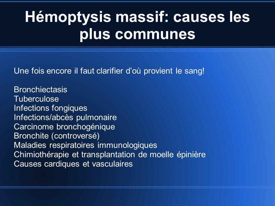 Hémoptysis massif: causes les plus communes Une fois encore il faut clarifier doù provient le sang! Bronchiectasis Tuberculose Infections fongiques In
