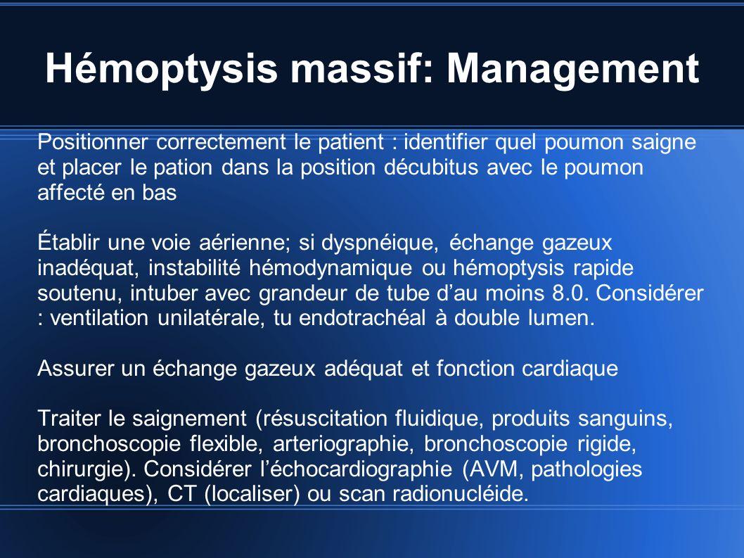Hémoptysis massif: Management Positionner correctement le patient : identifier quel poumon saigne et placer le pation dans la position décubitus avec