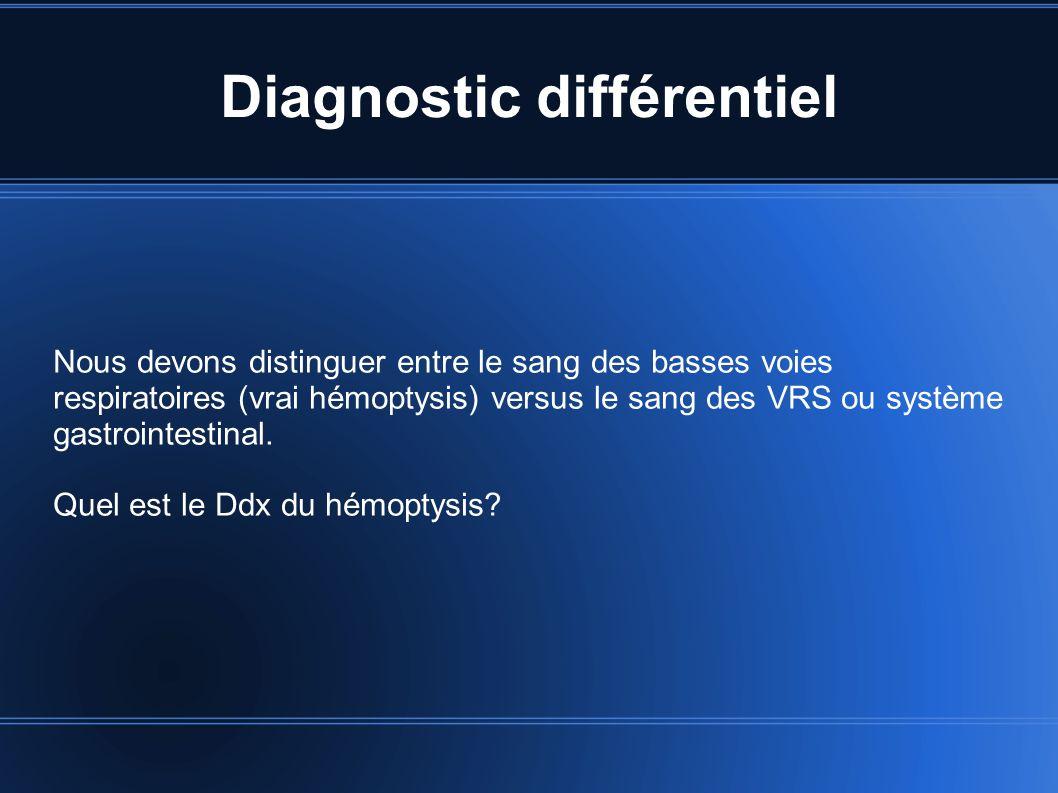 Diagnostic différentiel Nous devons distinguer entre le sang des basses voies respiratoires (vrai hémoptysis) versus le sang des VRS ou système gastro