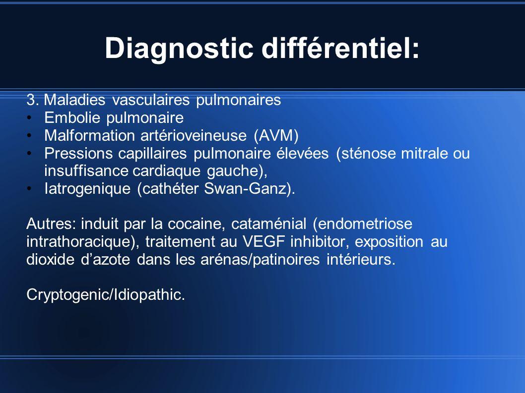 Diagnostic différentiel: 3. Maladies vasculaires pulmonaires Embolie pulmonaire Malformation artérioveineuse (AVM) Pressions capillaires pulmonaire él