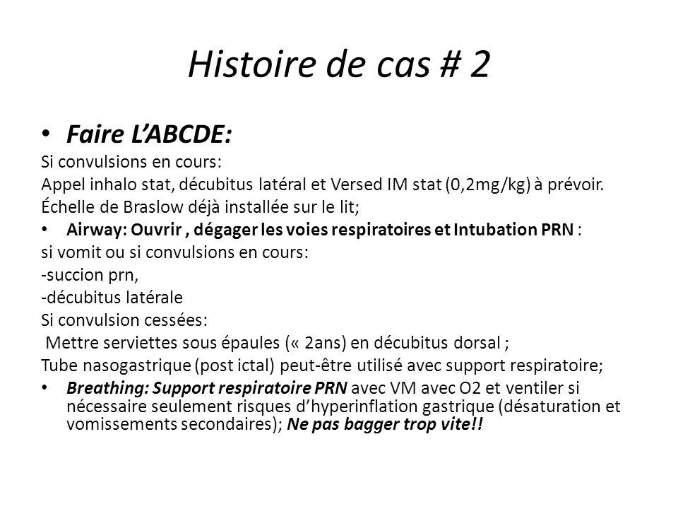 Histoire de cas # 2 Faire LABCDE: Si convulsions en cours: Appel inhalo stat, décubitus latéral et Versed IM stat (0,2mg/kg) à prévoir. Échelle de Bra
