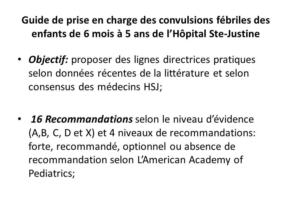 Guide de prise en charge des convulsions fébriles des enfants de 6 mois à 5 ans de lHôpital Ste-Justine Objectif: proposer des lignes directrices prat