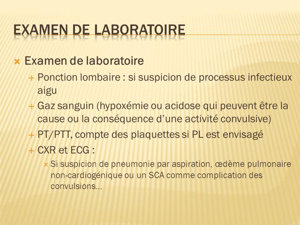 Examen de laboratoire Ponction lombaire : si suspicion de processus infectieux aigu Gaz sanguin (hypoxémie ou acidose qui peuvent être la cause ou la