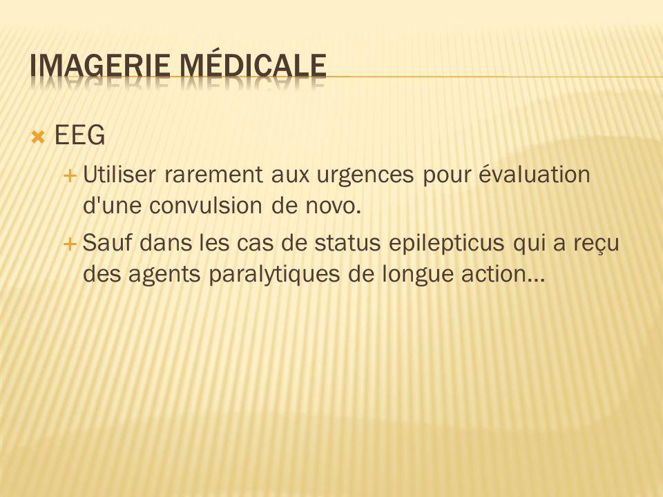 EEG Utiliser rarement aux urgences pour évaluation d'une convulsion de novo. Sauf dans les cas de status epilepticus qui a reçu des agents paralytique