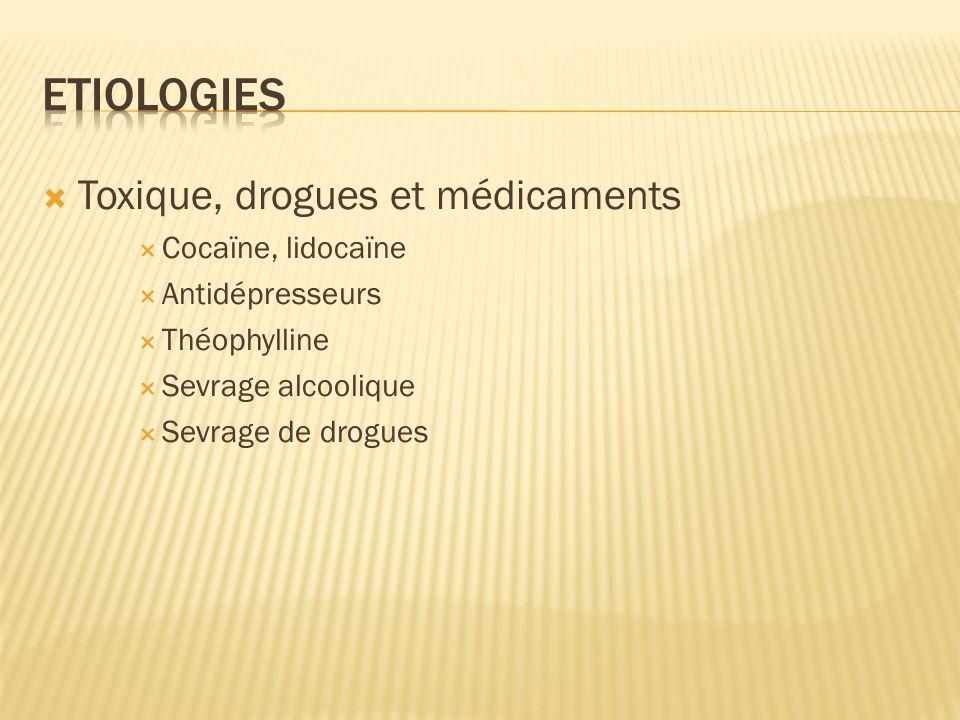 Toxique, drogues et médicaments Cocaïne, lidocaïne Antidépresseurs Théophylline Sevrage alcoolique Sevrage de drogues