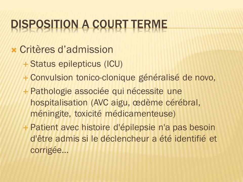 Critères dadmission Status epilepticus (ICU) Convulsion tonico-clonique généralisé de novo, Pathologie associée qui nécessite une hospitalisation (AVC