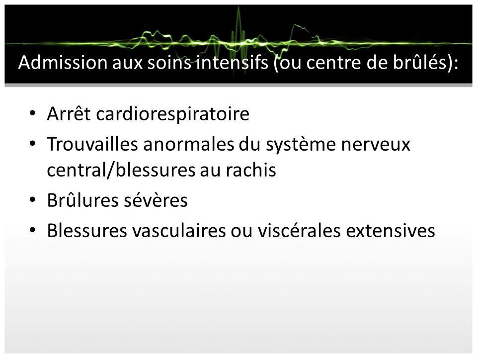 Admission aux soins intensifs (ou centre de brûlés): Arrêt cardiorespiratoire Trouvailles anormales du système nerveux central/blessures au rachis Brû