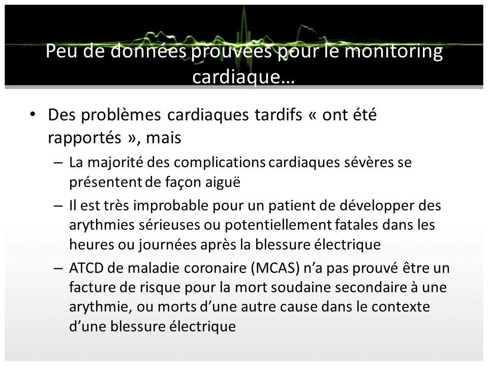 Peu de données prouvées pour le monitoring cardiaque… Des problèmes cardiaques tardifs « ont été rapportés », mais – La majorité des complications car