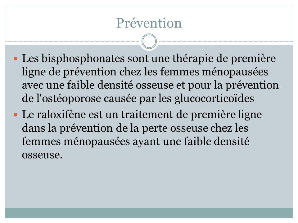 Prévention Les bisphosphonates sont une thérapie de première ligne de prévention chez les femmes ménopausées avec une faible densité osseuse et pour l