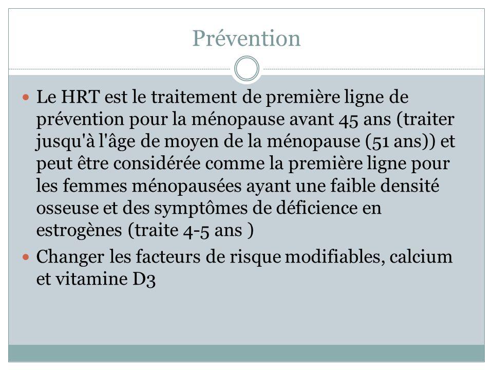 Prévention Le HRT est le traitement de première ligne de prévention pour la ménopause avant 45 ans (traiter jusqu'à l'âge de moyen de la ménopause (51