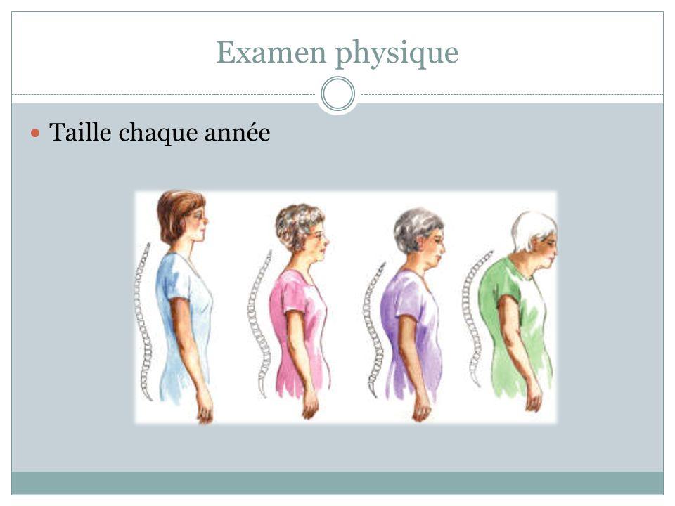 Examen physique Taille chaque année