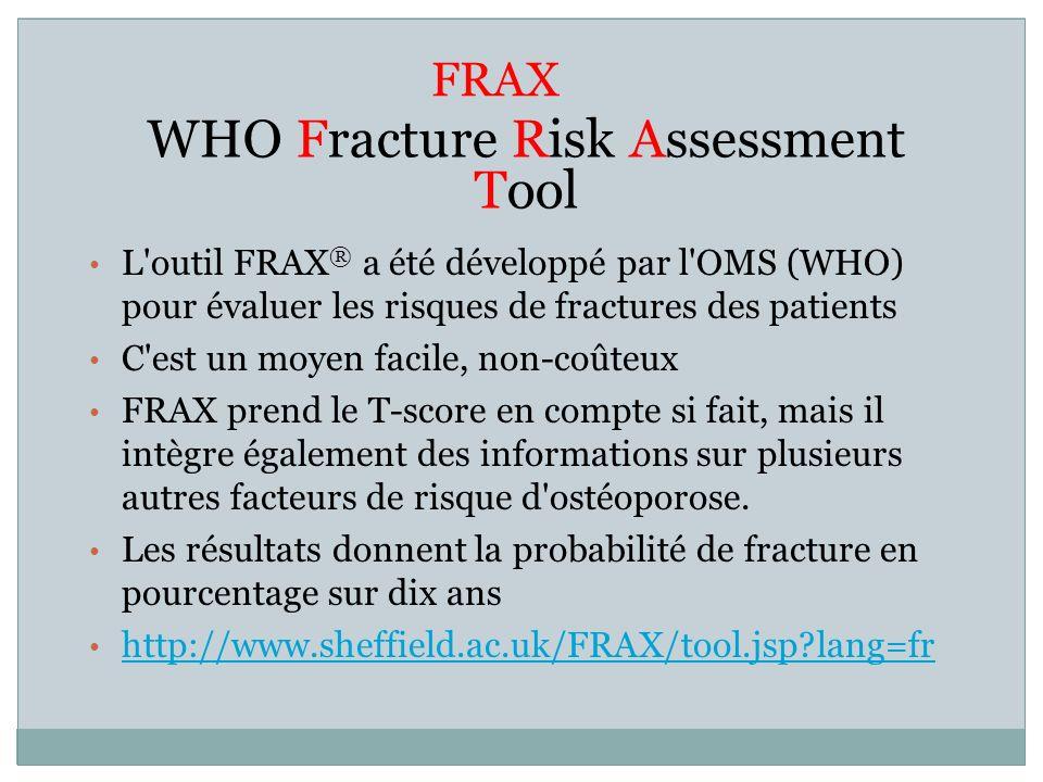 FRAX WHO Fracture Risk Assessment Tool L'outil FRAX ® a été développé par l'OMS (WHO) pour évaluer les risques de fractures des patients C'est un moye