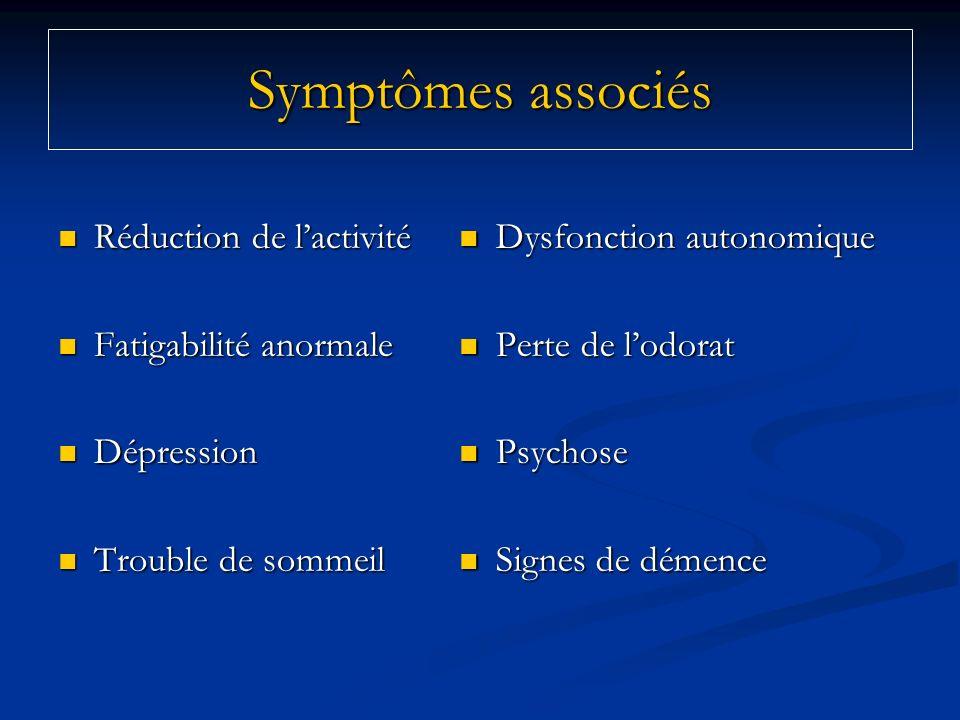 Symptômes associés Réduction de lactivité Réduction de lactivité Fatigabilité anormale Fatigabilité anormale Dépression Dépression Trouble de sommeil