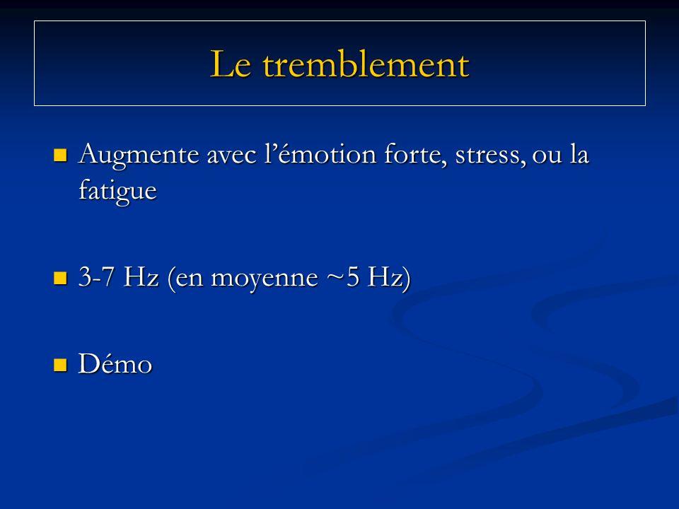 Le tremblement Augmente avec lémotion forte, stress, ou la fatigue Augmente avec lémotion forte, stress, ou la fatigue 3-7 Hz (en moyenne ~5 Hz) 3-7 H