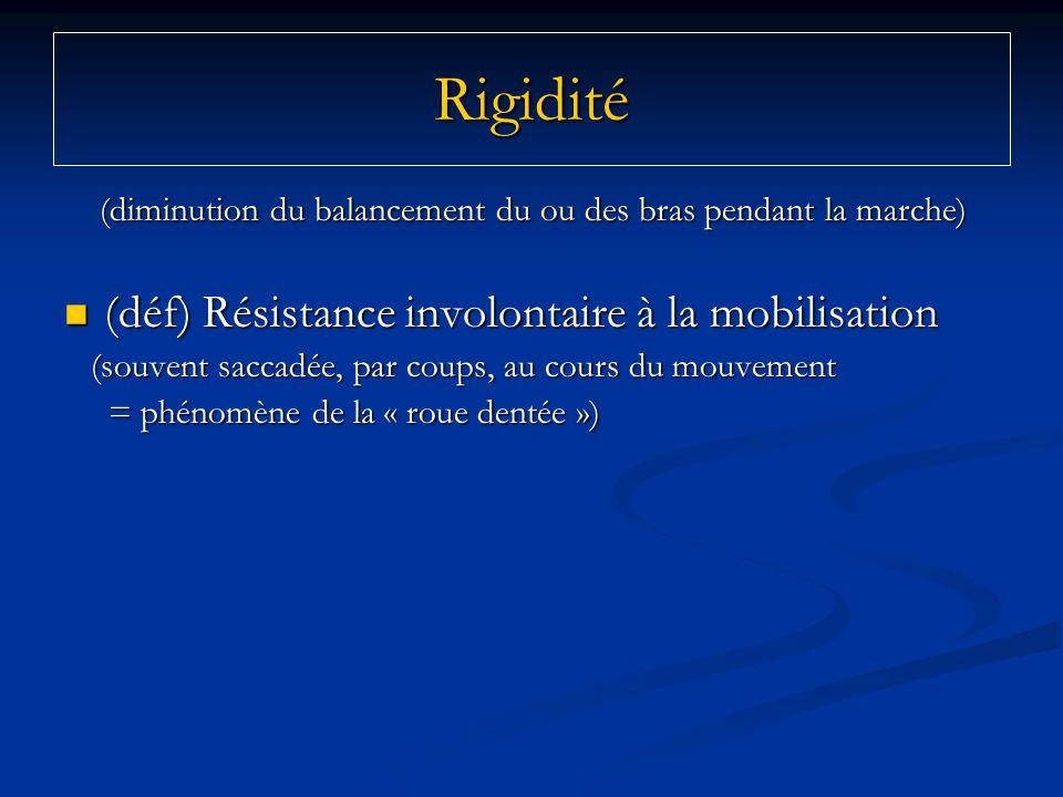 Rigidité (diminution du balancement du ou des bras pendant la marche) (diminution du balancement du ou des bras pendant la marche) (déf) Résistance in