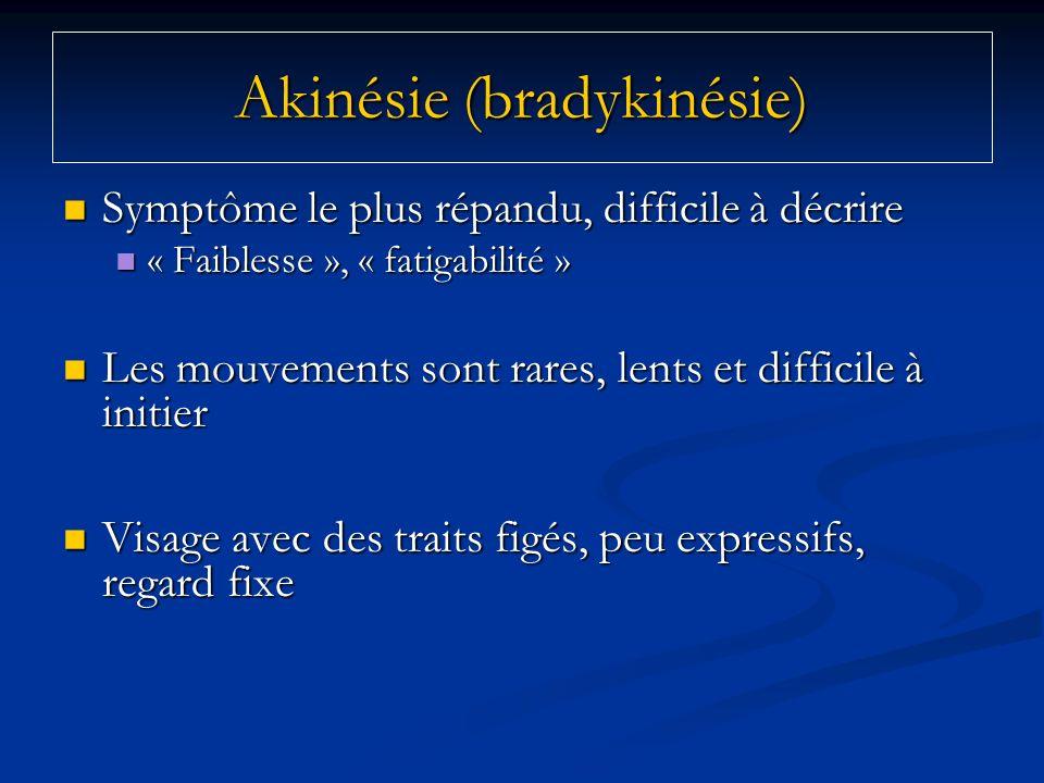 Akinésie (bradykinésie) Symptôme le plus répandu, difficile à décrire Symptôme le plus répandu, difficile à décrire « Faiblesse », « fatigabilité » «