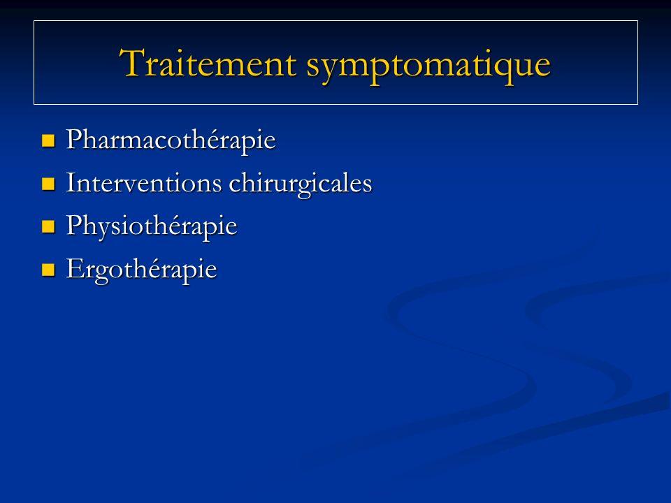 Pharmacothérapie Pharmacothérapie Interventions chirurgicales Interventions chirurgicales Physiothérapie Physiothérapie Ergothérapie Ergothérapie Trai