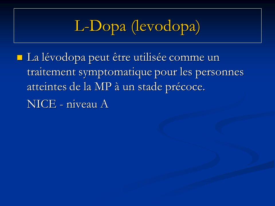 La lévodopa peut être utilisée comme un traitement symptomatique pour les personnes atteintes de la MP à un stade précoce. La lévodopa peut être utili