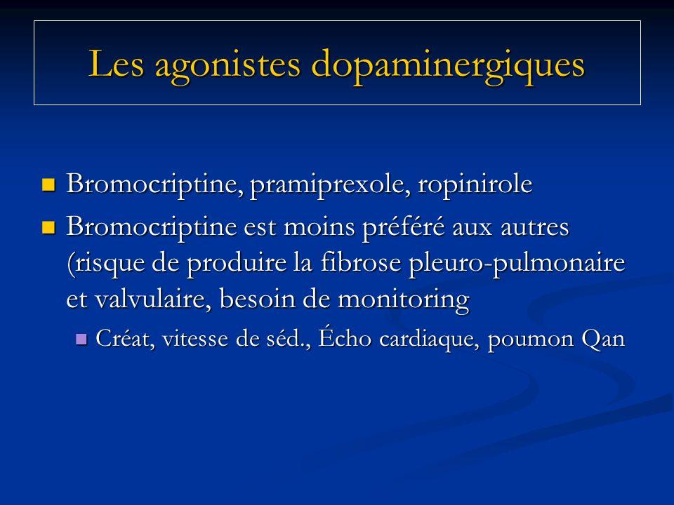Bromocriptine, pramiprexole, ropinirole Bromocriptine, pramiprexole, ropinirole Bromocriptine est moins préféré aux autres (risque de produire la fibr