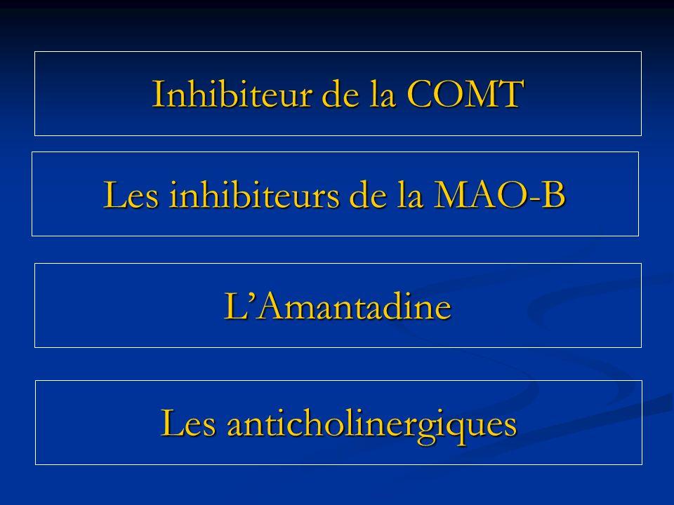 Les inhibiteurs de la MAO-B Les anticholinergiques LAmantadine Inhibiteur de la COMT
