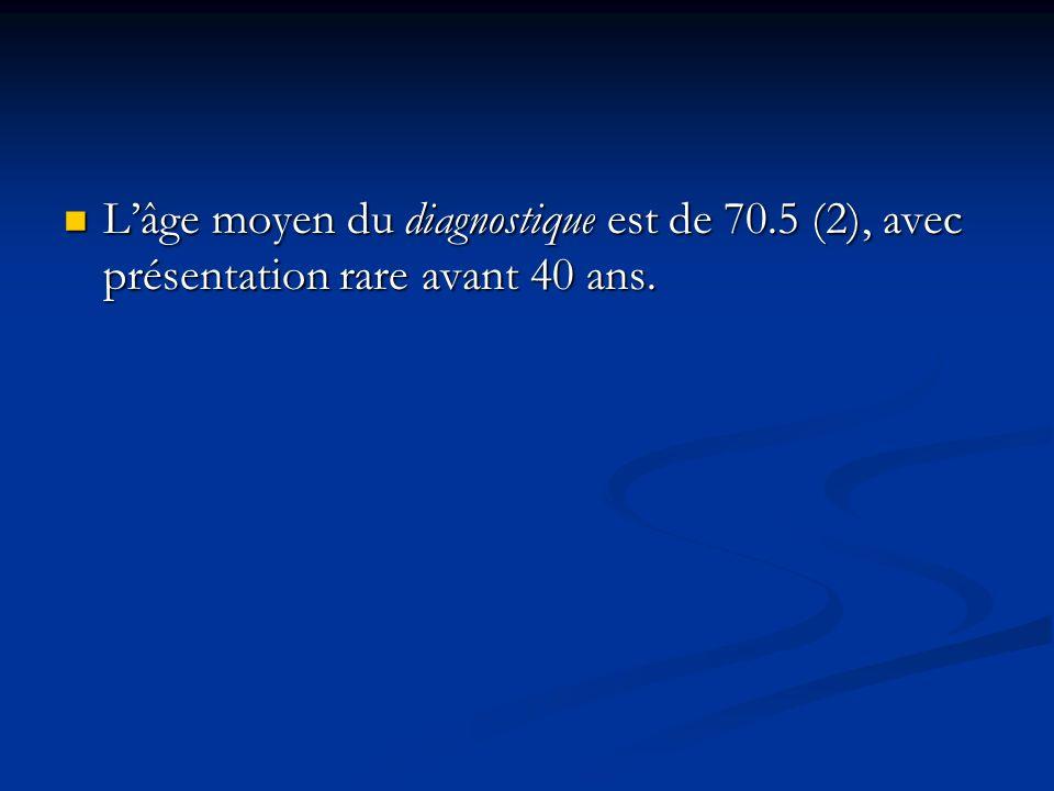 Lâge moyen du diagnostique est de 70.5 (2), avec présentation rare avant 40 ans. Lâge moyen du diagnostique est de 70.5 (2), avec présentation rare av