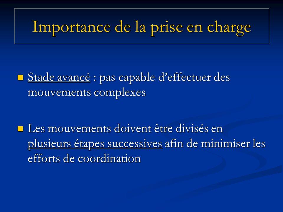 Importance de la prise en charge Stade avancé : pas capable deffectuer des mouvements complexes Stade avancé : pas capable deffectuer des mouvements c