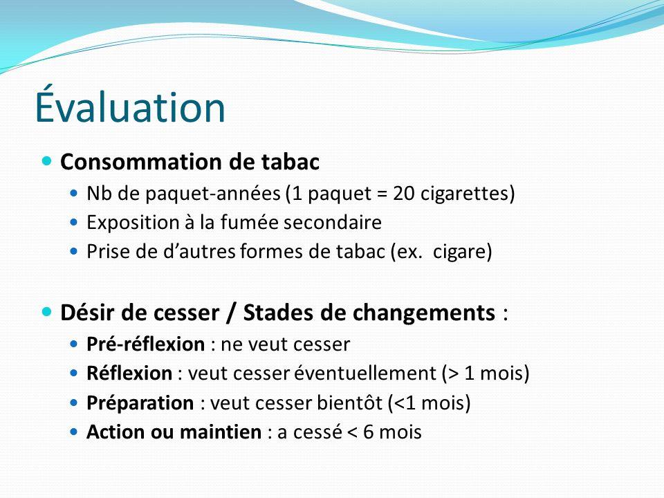 Évaluation Consommation de tabac Nb de paquet-années (1 paquet = 20 cigarettes) Exposition à la fumée secondaire Prise de dautres formes de tabac (ex.