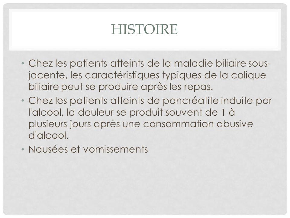 HISTOIRE Chez les patients atteints de la maladie biliaire sous- jacente, les caractéristiques typiques de la colique biliaire peut se produire après