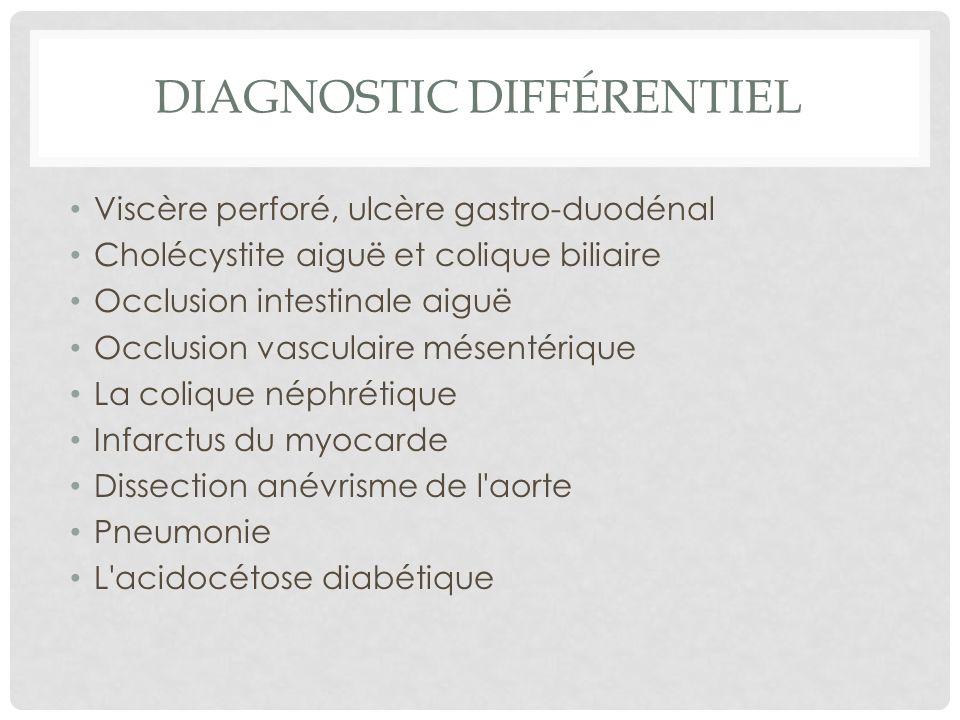 Viscère perforé, ulcère gastro-duodénal Cholécystite aiguë et colique biliaire Occlusion intestinale aiguë Occlusion vasculaire mésentérique La coliqu