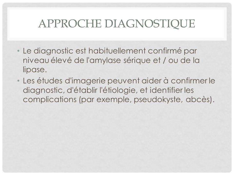 APPROCHE DIAGNOSTIQUE Le diagnostic est habituellement confirmé par niveau élevé de l'amylase sérique et / ou de la lipase. Les études d'imagerie peuv