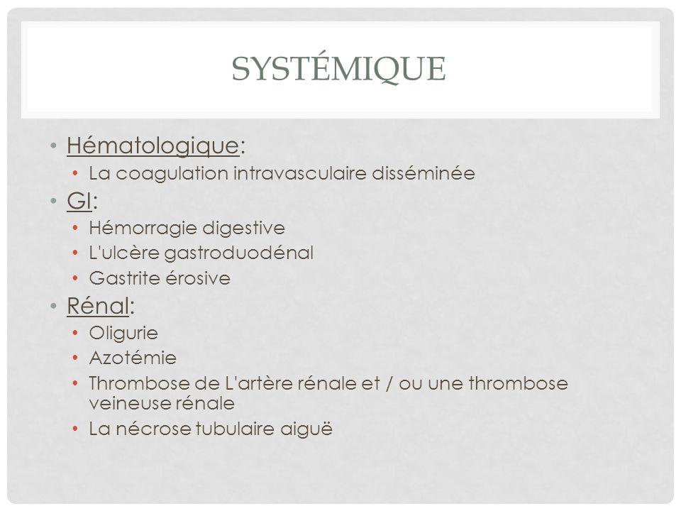 SYSTÉMIQUE Hématologique: La coagulation intravasculaire disséminée GI: Hémorragie digestive L'ulcère gastroduodénal Gastrite érosive Rénal: Oligurie