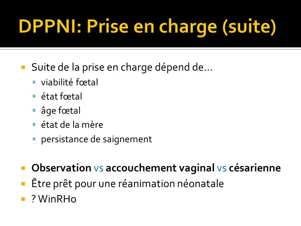 Suite de la prise en charge dépend de… viabilité fœtal état fœtal âge fœtal état de la mère persistance de saignement Observation vs accouchement vagi