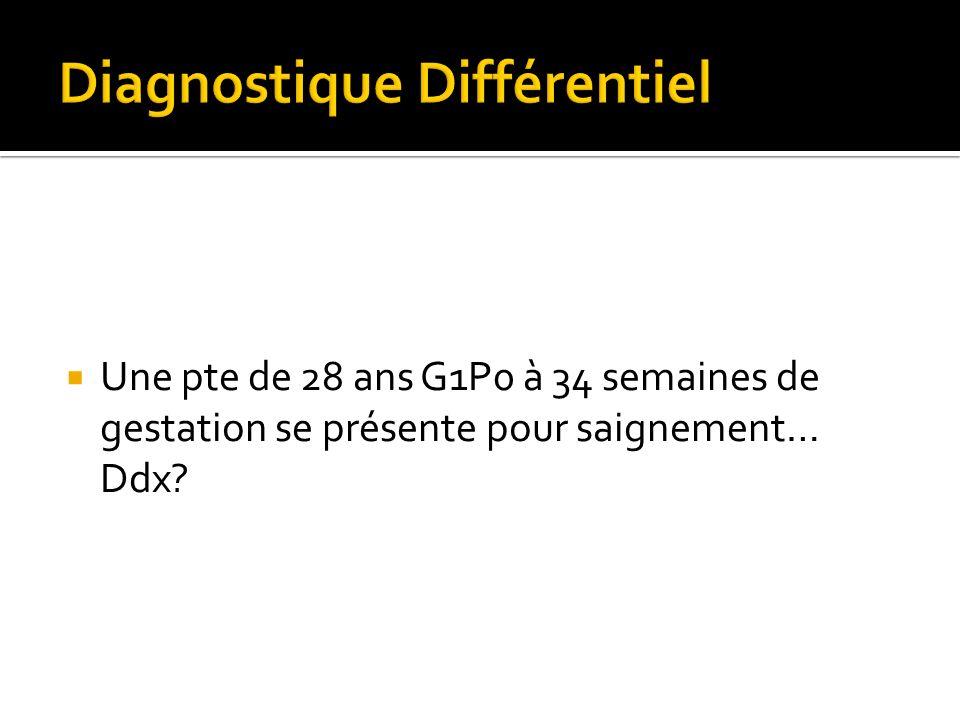 Une pte de 28 ans G1P0 à 34 semaines de gestation se présente pour saignement… Ddx?