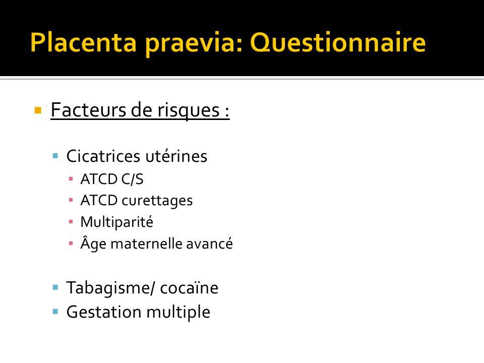 Facteurs de risques : Cicatrices utérines ATCD C/S ATCD curettages Multiparité Âge maternelle avancé Tabagisme/ cocaïne Gestation multiple