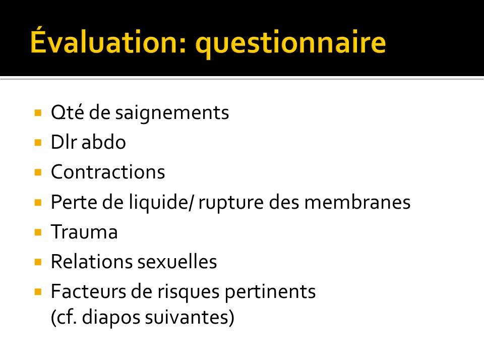 Qté de saignements Dlr abdo Contractions Perte de liquide/ rupture des membranes Trauma Relations sexuelles Facteurs de risques pertinents (cf. diapos