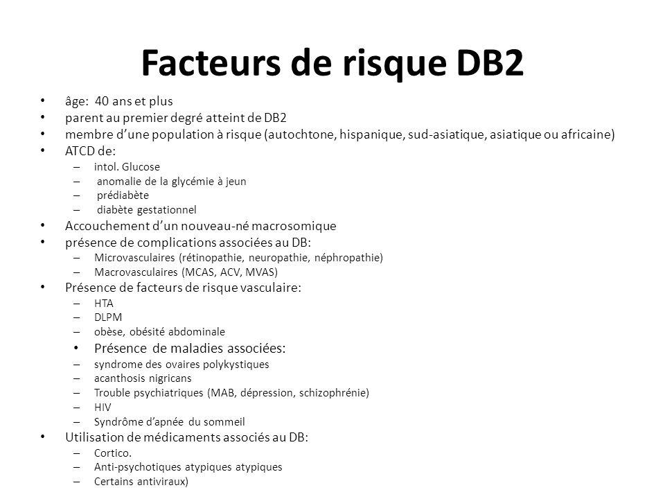 Facteurs de risque DB2 âge: 40 ans et plus parent au premier degré atteint de DB2 membre dune population à risque (autochtone, hispanique, sud-asiatiq