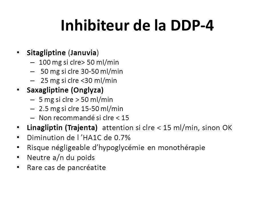 Inhibiteur de la DDP-4 Sitagliptine (Januvia) – 100 mg si clre> 50 ml/min – 50 mg si clre 30-50 ml/min – 25 mg si clre <30 ml/min Saxagliptine (Onglyz