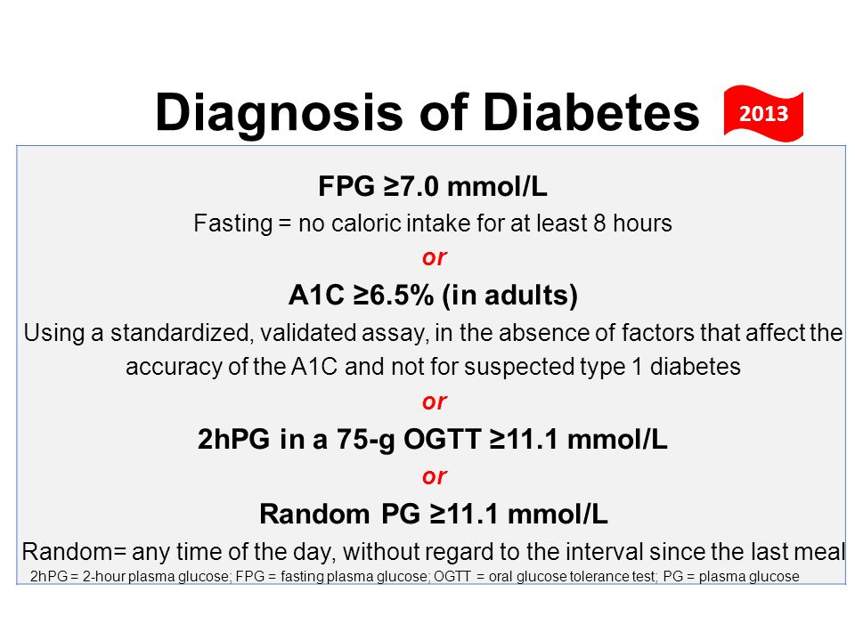 FPG 7.0 mmol/L Fasting = no caloric intake for at least 8 hours or A1C 6.5% (in adults) Using a standardized, validated assay, in the absence of facto