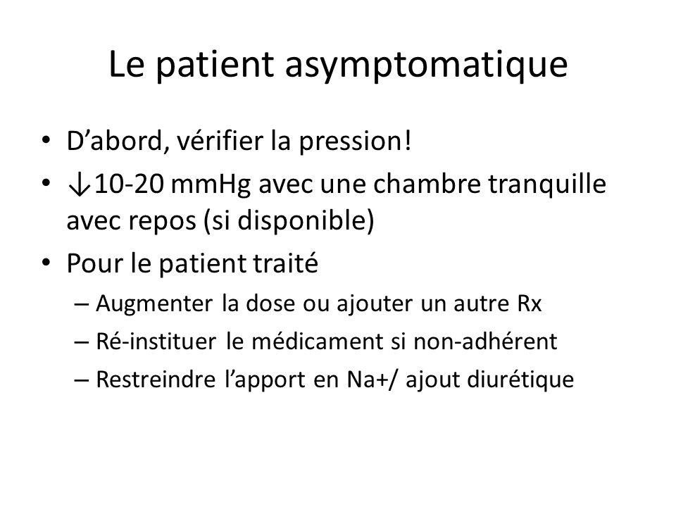 Le patient asymptomatique Dabord, vérifier la pression.