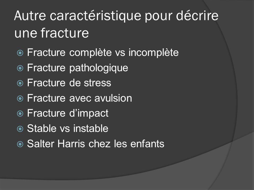Autre caractéristique pour décrire une fracture Fracture complète vs incomplète Fracture pathologique Fracture de stress Fracture avec avulsion Fractu