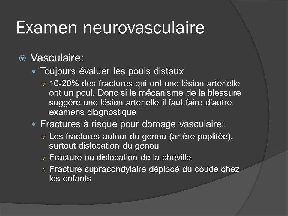 Examen neurovasculaire Vasculaire: Toujours évaluer les pouls distaux 10-20% des fractures qui ont une lésion artérielle ont un poul. Donc si le mécan