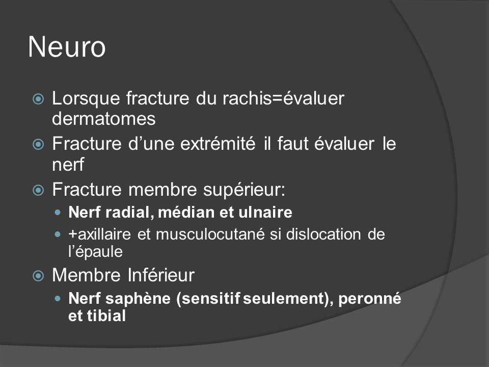 Neuro Lorsque fracture du rachis=évaluer dermatomes Fracture dune extrémité il faut évaluer le nerf Fracture membre supérieur: Nerf radial, médian et