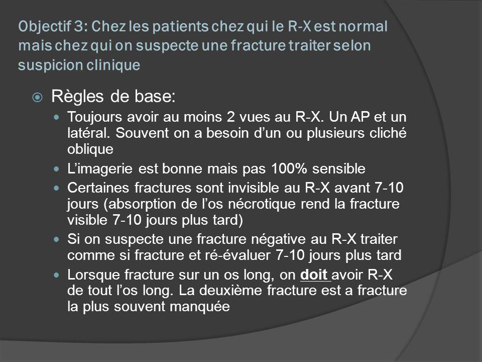 Objectif 3: Chez les patients chez qui le R-X est normal mais chez qui on suspecte une fracture traiter selon suspicion clinique Règles de base: Toujo