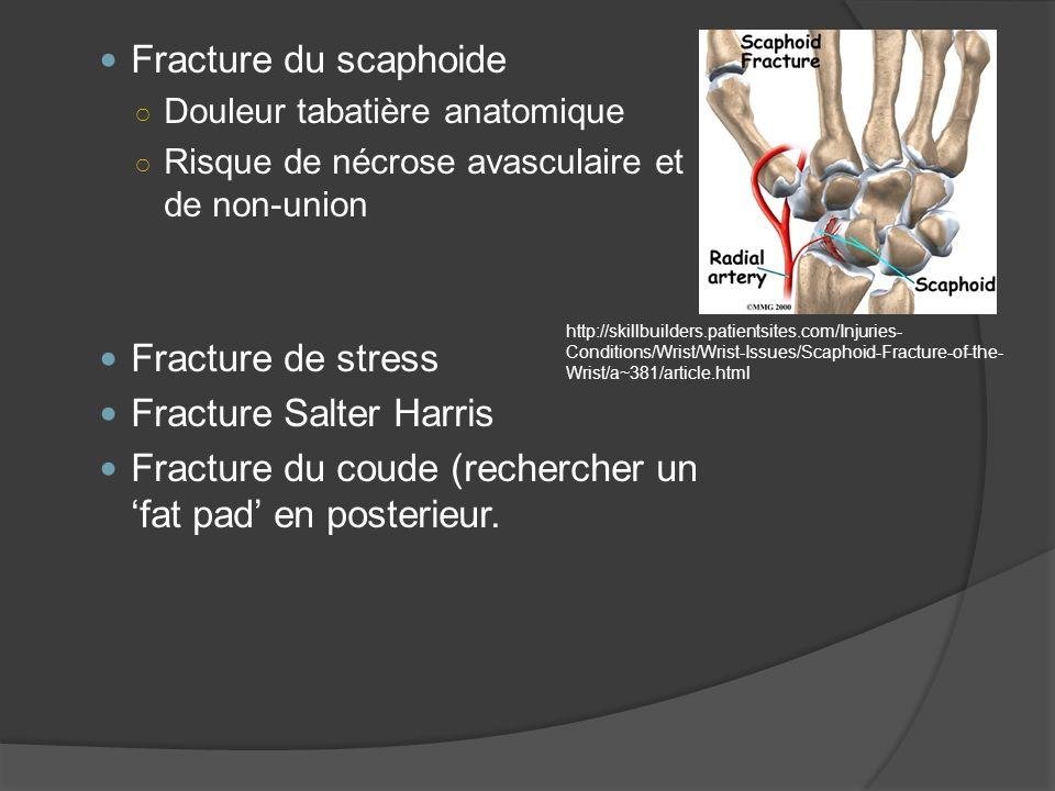 Fracture du scaphoide Douleur tabatière anatomique Risque de nécrose avasculaire et de non-union Fracture de stress Fracture Salter Harris Fracture du