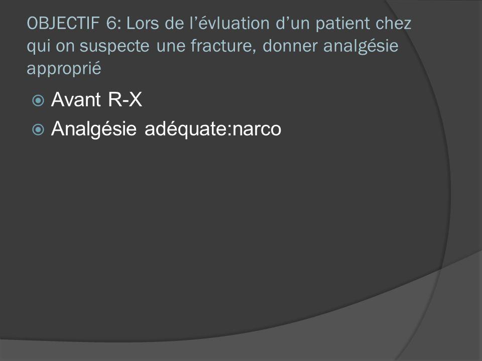 OBJECTIF 6: Lors de lévluation dun patient chez qui on suspecte une fracture, donner analgésie approprié Avant R-X Analgésie adéquate:narco