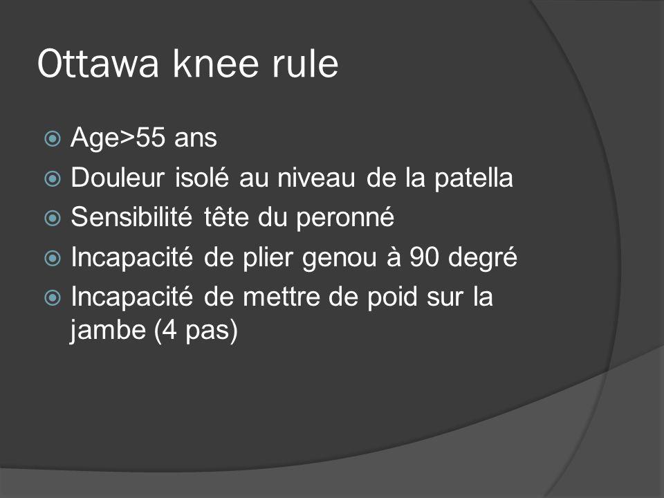 Ottawa knee rule Age>55 ans Douleur isolé au niveau de la patella Sensibilité tête du peronné Incapacité de plier genou à 90 degré Incapacité de mettr