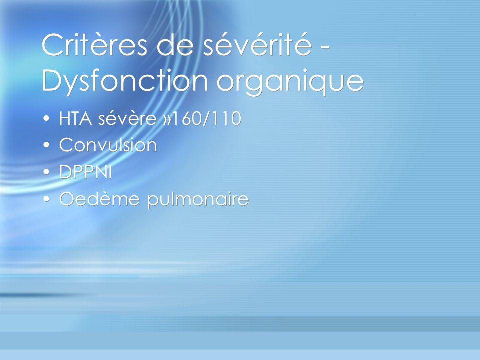 Critères de sévérité - Dysfonction organique HTA sévère »160/110 Convulsion DPPNI Oedème pulmonaire HTA sévère »160/110 Convulsion DPPNI Oedème pulmon