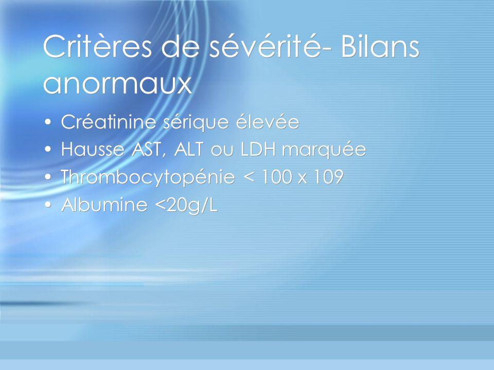 Critères de sévérité- Bilans anormaux Créatinine sérique élevée Hausse AST, ALT ou LDH marquée Thrombocytopénie < 100 x 109 Albumine <20g/L Créatinine
