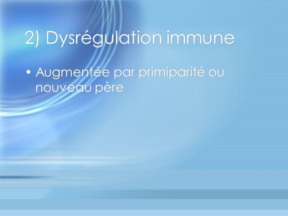 2) Dysrégulation immune Augmentée par primiparité ou nouveau père