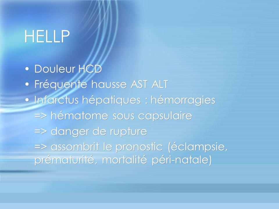 HELLP Douleur HCD Fréquente hausse AST ALT Infarctus hépatiques : hémorragies => hématome sous capsulaire => danger de rupture => assombrit le pronost